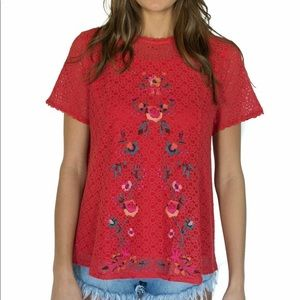 UMGEE Anthropologie Red Floral Lace Blouse Large